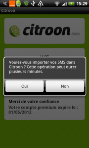 importer les SMS